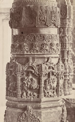 Close view of a carved column in an unidentified temple, Aihole